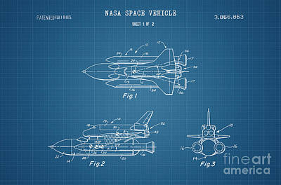 Space Ships Drawing - 1975 Nasa Space Shuttle Patent Art 4 by Nishanth Gopinathan