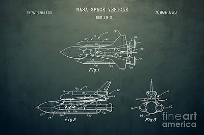 Space Ships Drawing - 1975 Nasa Space Shuttle Patent Art 5 by Nishanth Gopinathan