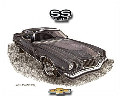 Icon Drawing - 1976 Chevrolet Camato S S 396 by Jack Pumphrey