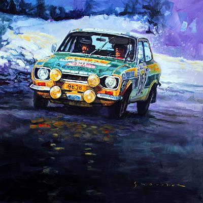 Carlos Painting - 1977 Rallye Monte Carlo Ford Escort Rs 2000 #152 Beauchef Dubois Keller by Yuriy Shevchuk