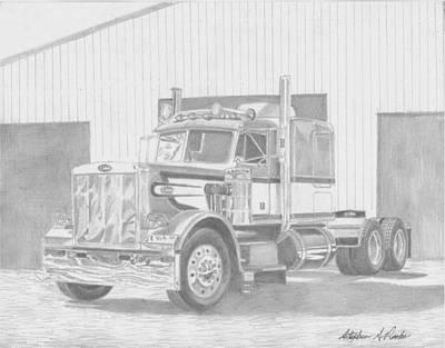 Classic Truck Drawing - 1978 Peterbilt Classic 359 Semi Truck Art Print by Stephen Rooks