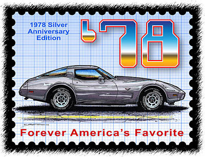 Special Edition Corvettes Drawing - 1978 Silver Anniversary Edition Corvette by K Scott Teeters