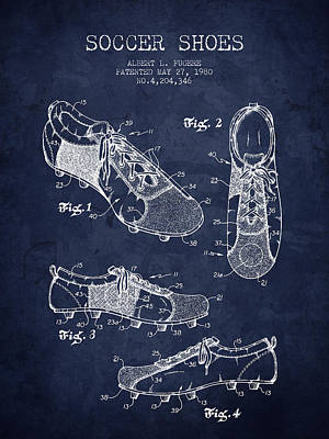 Football Art Drawing - 1980 Soccer Shoe Patent - Navy Blue - Nb by Aged Pixel