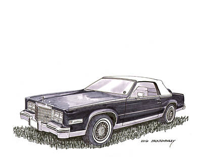 Watercolor With Pen Painting - 1985 Cadillac El Dorado Convertible by Jack Pumphrey