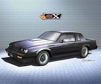 Muscle Car Drawings Painting - 1987  Buick  Gnx  by Danny Whitfield
