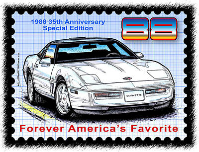 Special Edition Corvettes Drawing - 1988 35th Anniversary Special Edtion Corvette by K Scott Teeters
