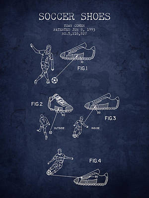 Soccer Drawing - 1993 Soccer Shoes Patent - Navy Blue - Nb by Aged Pixel