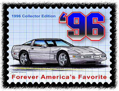 Special Edition Corvettes Drawing - 1996 Collector Edition Corvette by K Scott Teeters