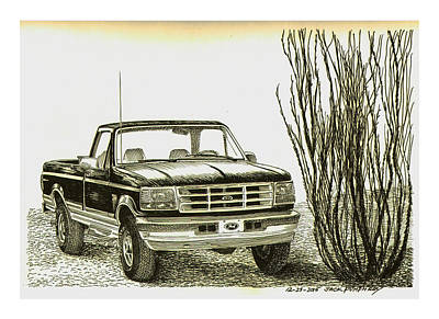 Desert Drawing - 1996 Ford Pick Up Ocatillo  by Jack Pumphrey