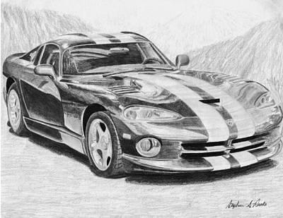 Viper Mixed Media - 1997 Dodge Viper Gts Sports Car Art Print by Stephen Rooks