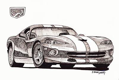 Viper Painting - 1998 Dodge Viper by Jeff Blazejovsky