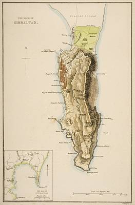19th Century Map Of The Rock Of Print by Vintage Design Pics