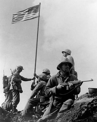 Us Flag Photograph - 1st Flag Raising On Iwo Jima  by War Is Hell Store