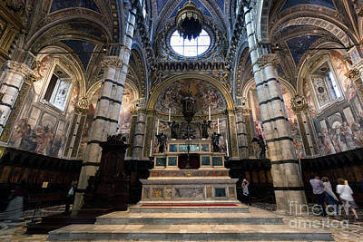 Interior Of Siena Cathedral, Italian Duomo Di Siena With Mosaic Floor Print by Michal Bednarek