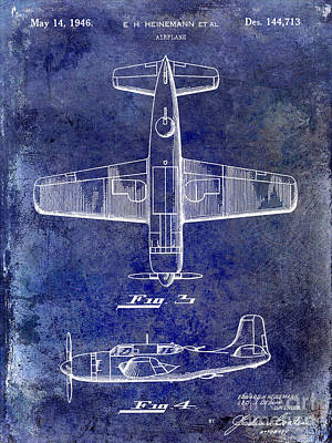1946 Airplane Patent Blue Print by Jon Neidert