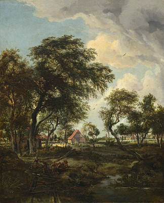 Building Painting - A Farm In The Sunlight by Meindert Hobbema