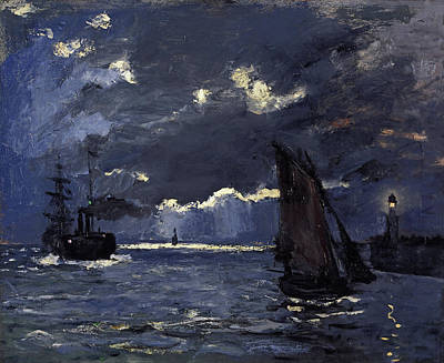 Moonlight Painting - A Seascape Shipping By Moonlight by Claude Monet