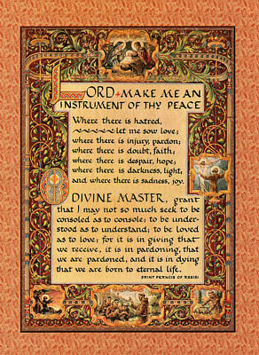 A Simple Prayer For Peace By St. Francis Of Assisi Print by Desiderata Gallery
