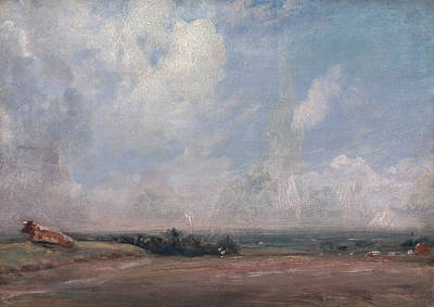 British Painting - A View From Hampstead Heath by John Constable