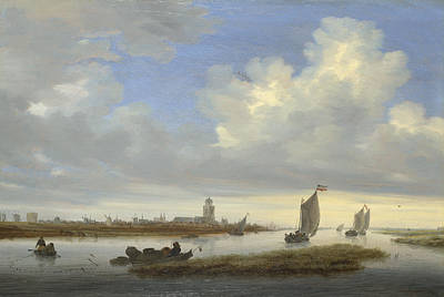 Angling Painting - A View Of Deventer Seen From The North-west by Salomon van Ruysdael