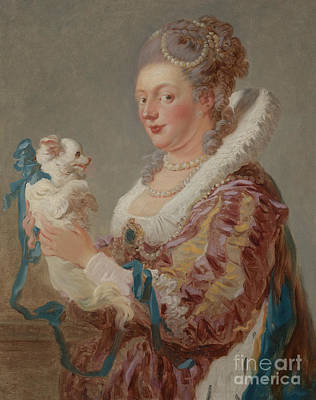 Jean-honore Fragonard Painting - A Woman With A Dog by Jean-Honore Fragonard