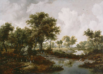 A Wooded Landscape Print by Meindert Hobbema