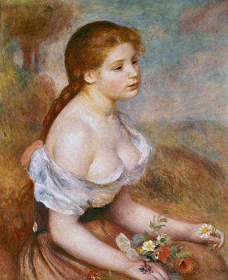 A Young Girl With Daisies Print by Pierre-Auguste Renoir