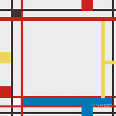 Background Painting - Abstract Composition 06 Piet Mondrian Style by Celestial Images