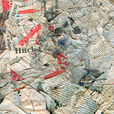 Quadro Photograph - Abstract Newspaper Dirty Damaged Background by Danil Roudenko