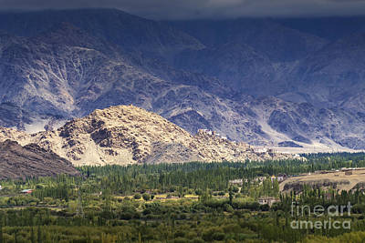 Brown Photograph - Aerial View Of Leh City Landscape Ladakh Jammu And Kashmir India by Rudra Narayan  Mitra