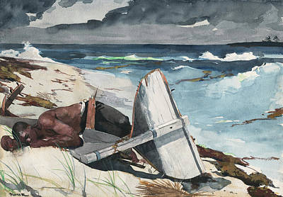 Stormy Weather Drawing - After The Hurricane, Bahamas by Winslow Homer