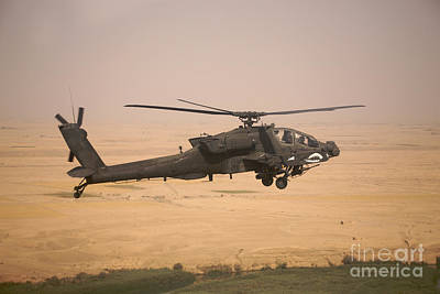 Ah-64d Apache Helicopter On A Mission Print by Terry Moore