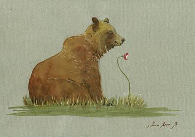 Alaskan Grizzly Bear Print by Juan Bosco
