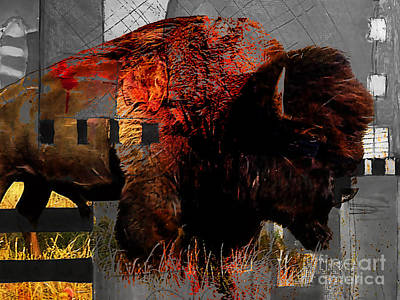 Bison Mixed Media - American Buffalo Collection by Marvin Blaine