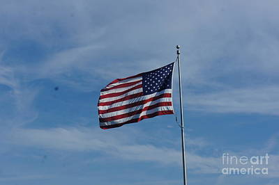 Flag Painting - American Flag - Racine Seascape Natural Coas Lanscape - Wisconsin By Adam Asar by Celestial Images
