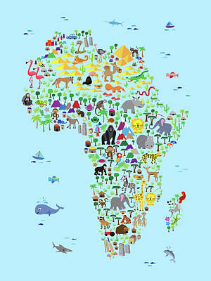 Animal Map Of Africa For Children And Kids Print by Michael Tompsett