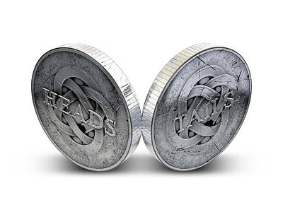 Antique Coins Heads And Tails Print by Allan Swart