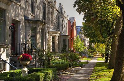 Montreal Neighborhoods Photograph - Apartment Buildings Along City Street by David Chapman