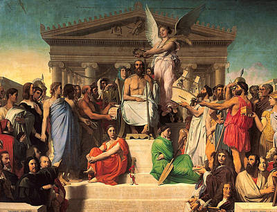 Literature Painting - Apotheosis Of Homer by Jean-Auguste-Dominique Ingres