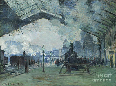 Monet Painting - Arrival Of The Normandy Train Gare Saint-lazare by Claude Monet