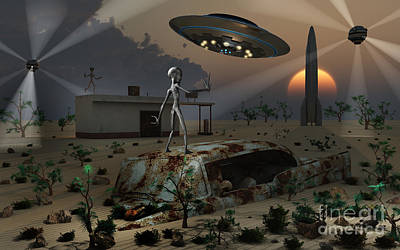 Artists Concept Of A Science Fiction Print by Mark Stevenson