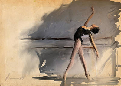 Ballet Painting - At The Barre by H James Hoff