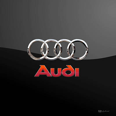 Audi - 3 D Badge On Black Print by Serge Averbukh