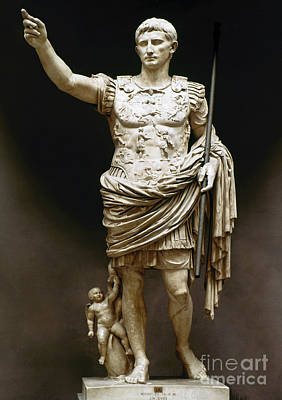 Statue Portrait Photograph - Augustus (63 B.c.-14 A.d.) by Granger