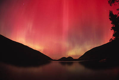 Aurora Borealis Over Jordan Pond Print by Michael Melford