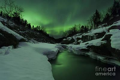 Landscape In Norway Photograph - Aurora Borealis Over Tennevik River by Arild Heitmann