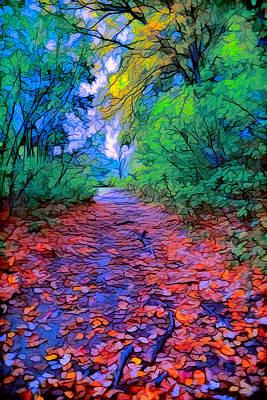 Plein Air Digital Art - Autumn Colors by Lilia D