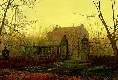 Haunted House Painting - Autumn Morning by John Atkinson Grimshaw