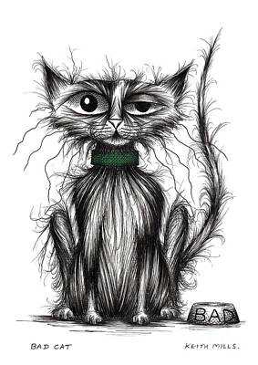 Moggy Drawing - Bad Cat by Keith Mills