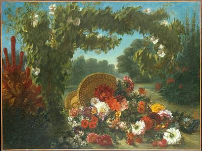 Basket Painting - Basket Of Flowers by Eugene Delacroix